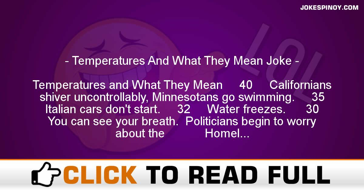 Temperatures And What They Mean Joke