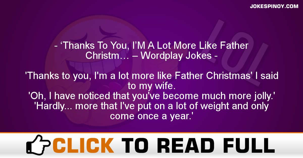 'Thanks To You, I'M A Lot More Like Father Christm… – Wordplay Jokes