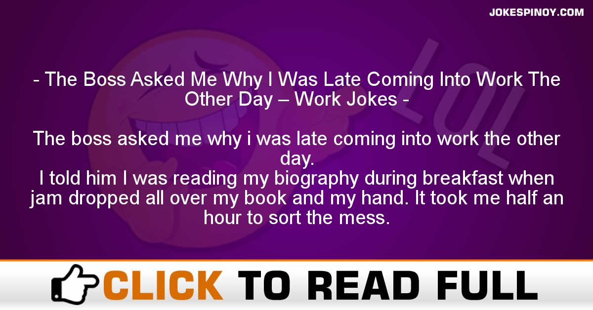 The Boss Asked Me Why I Was Late Coming Into Work The Other Day – Work Jokes