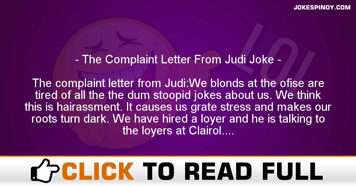 The Complaint Letter From Judi Joke
