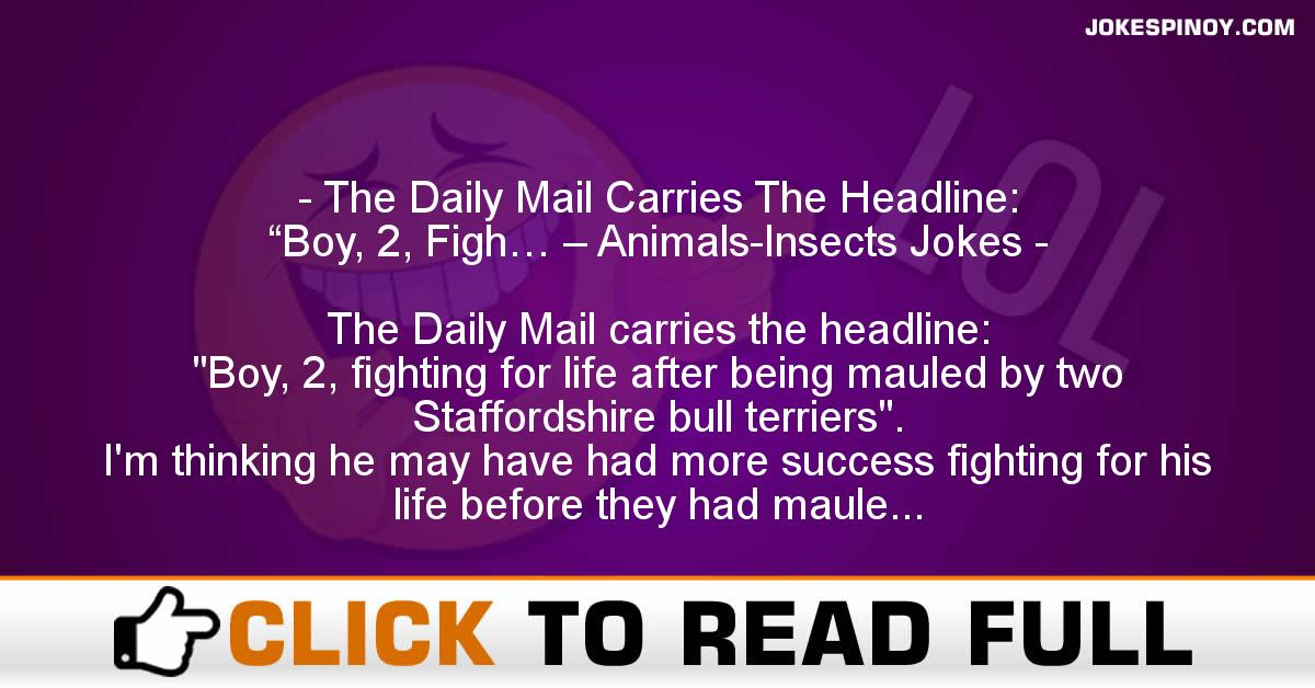 "The Daily Mail Carries The Headline: ""Boy, 2, Figh… – Animals-Insects Jokes"