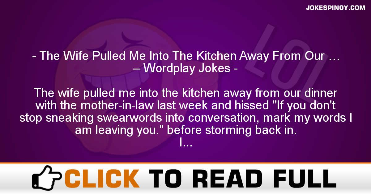 The Wife Pulled Me Into The Kitchen Away From Our … – Wordplay Jokes