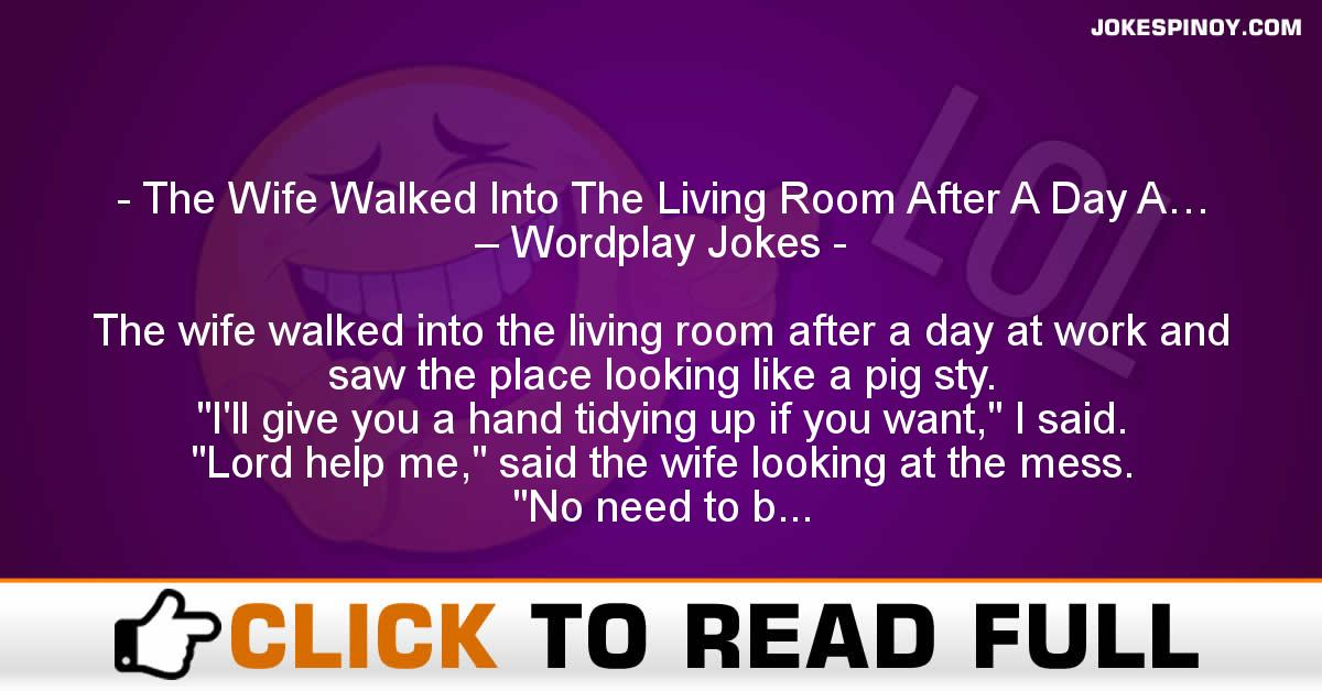 The Wife Walked Into The Living Room After A Day A… – Wordplay Jokes