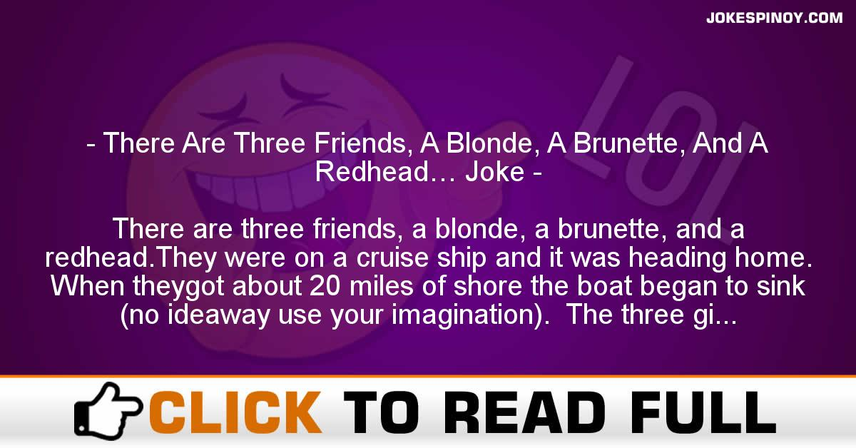 There Are Three Friends, A Blonde, A Brunette, And A Redhead… Joke