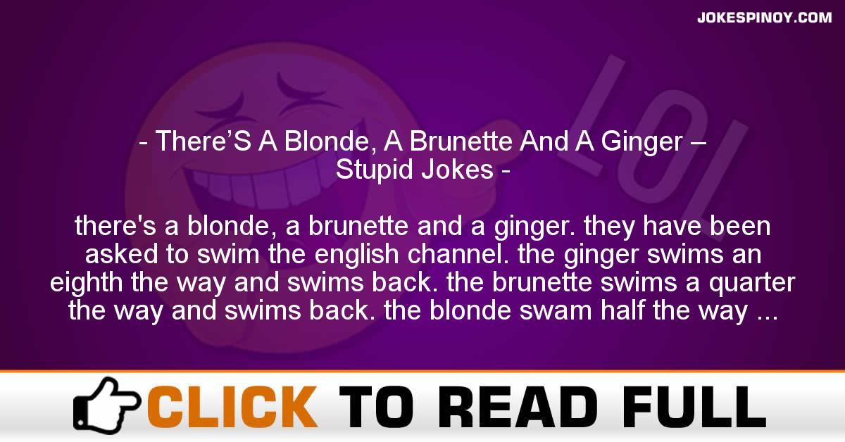 There'S A Blonde, A Brunette And A Ginger – Stupid Jokes
