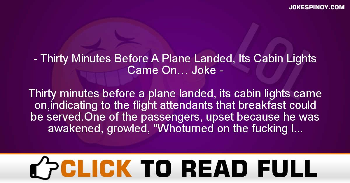 Thirty Minutes Before A Plane Landed, Its Cabin Lights Came On… Joke