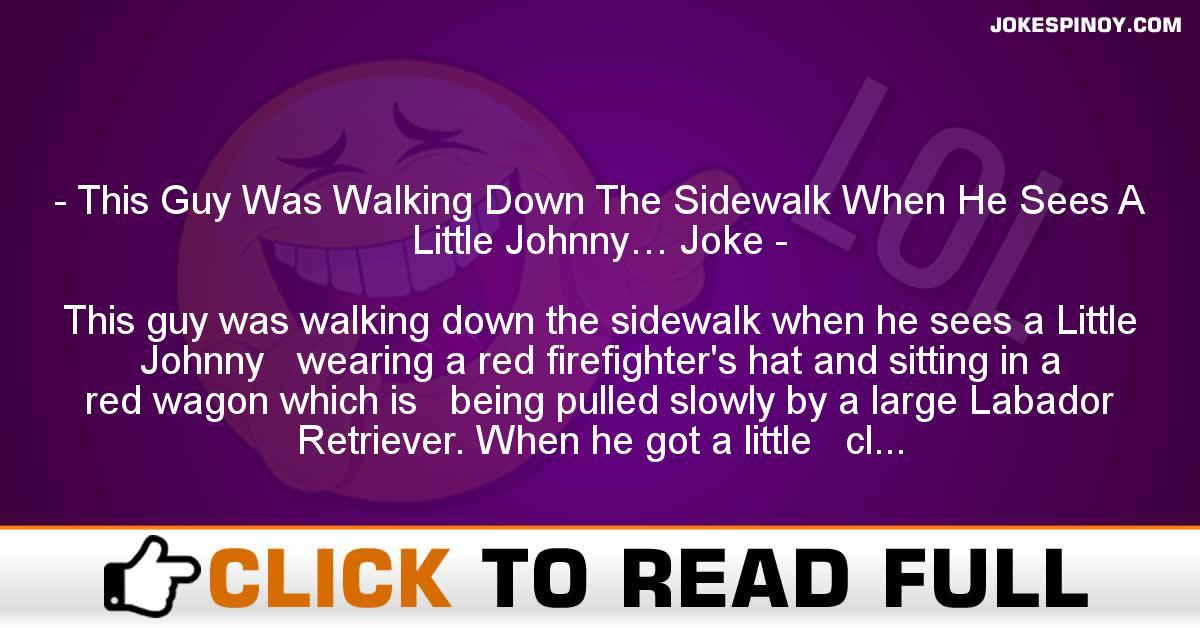 This Guy Was Walking Down The Sidewalk When He Sees A Little Johnny… Joke