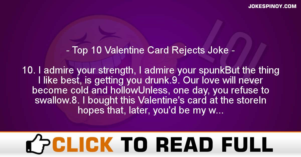Top 10 Valentine Card Rejects Joke