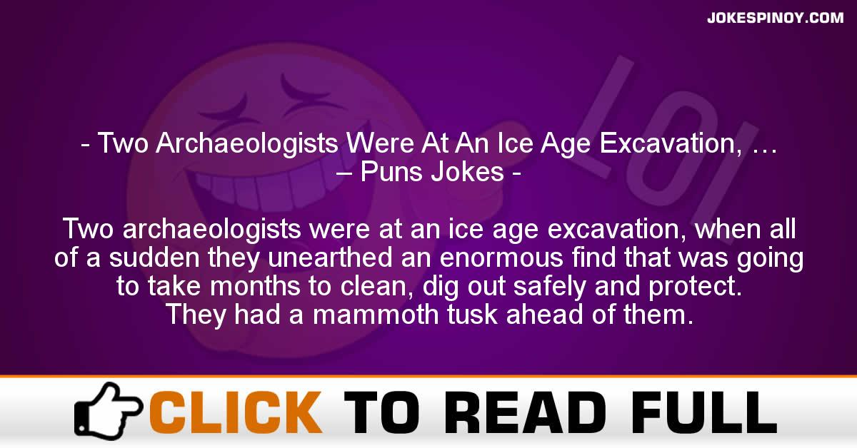 Two Archaeologists Were At An Ice Age Excavation, … – Puns Jokes