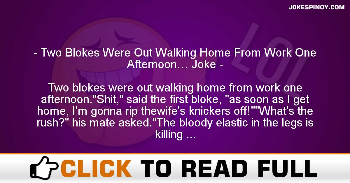 Two Blokes Were Out Walking Home From Work One Afternoon… Joke