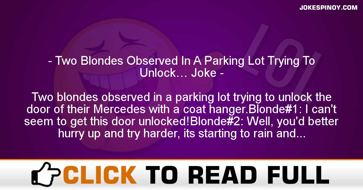 Two Blondes Observed In A Parking Lot Trying To Unlock… Joke