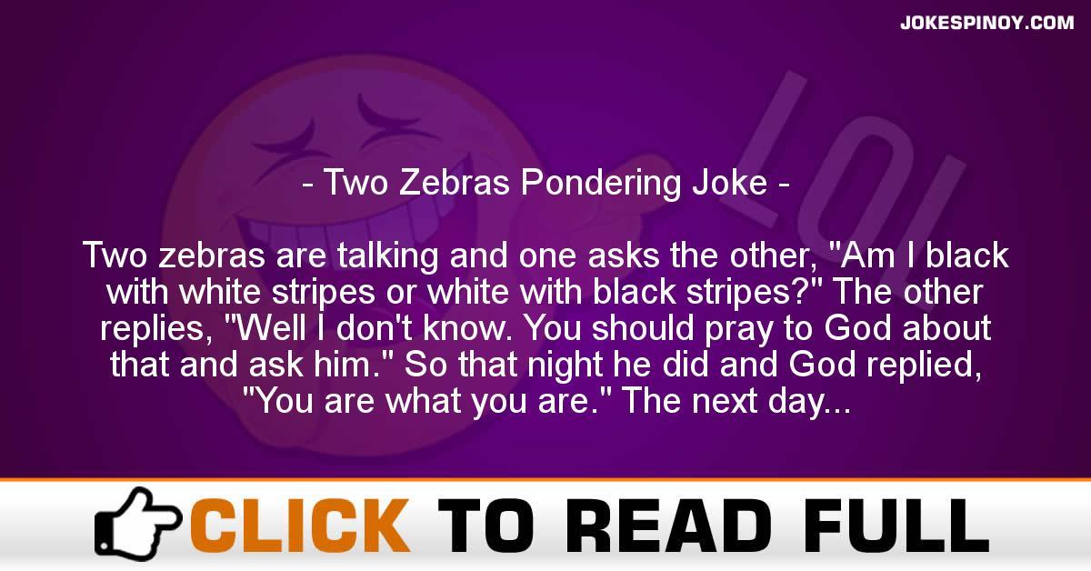 Two Zebras Pondering Joke