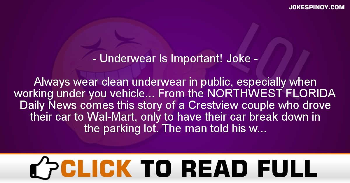 Underwear Is Important! Joke