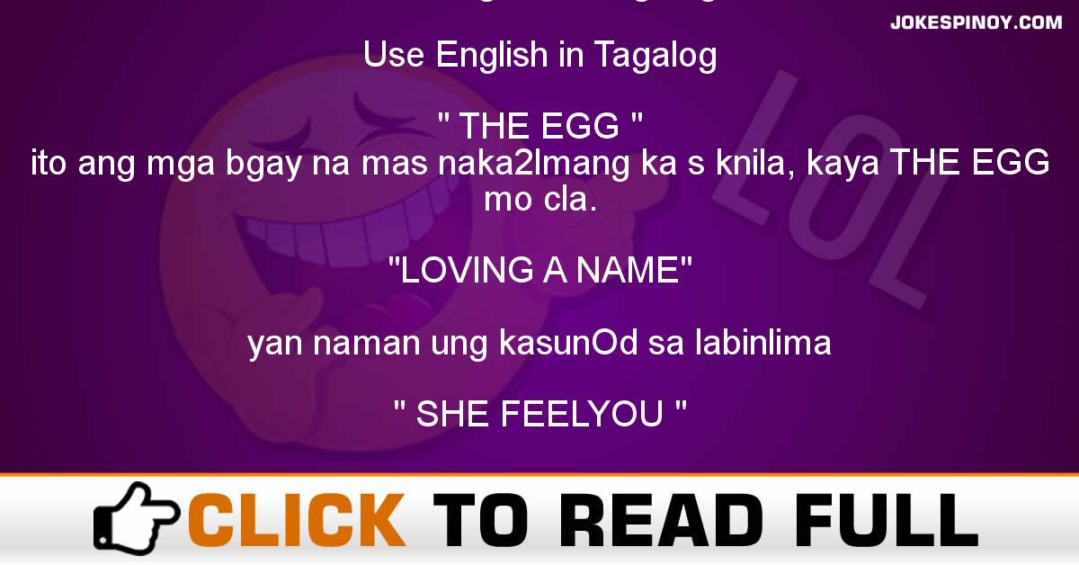 Use English In Tagalog