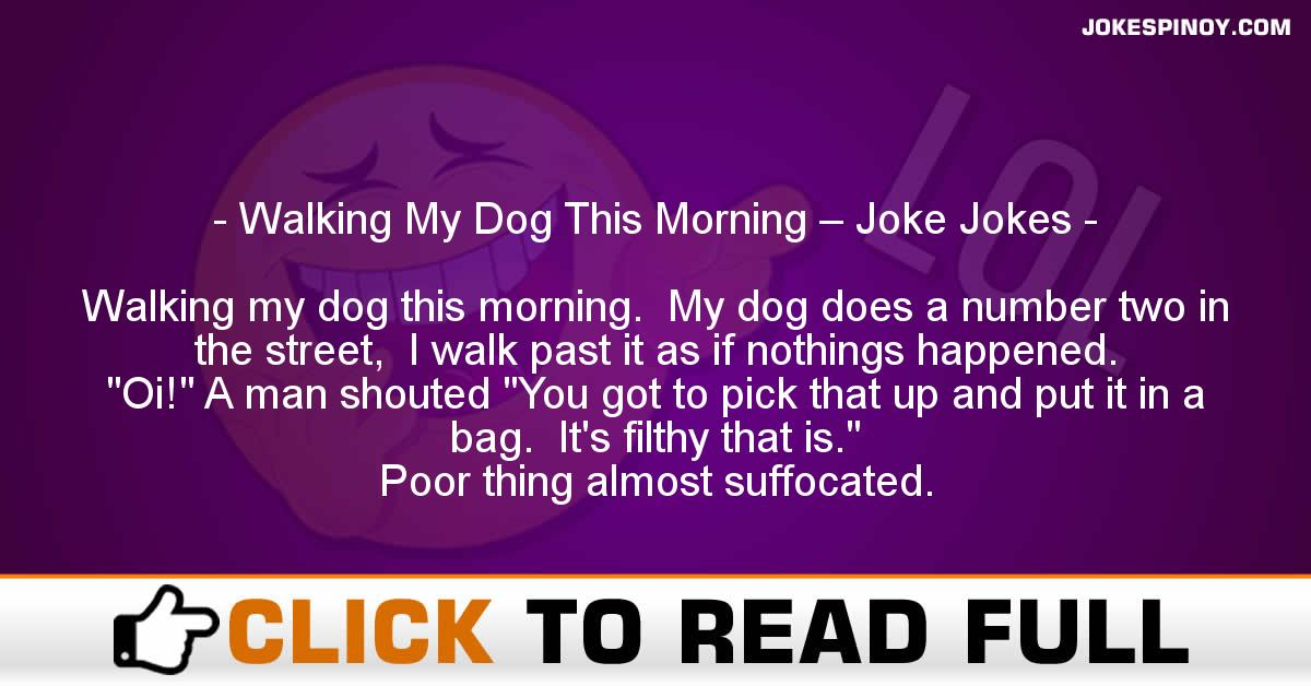 Walking My Dog This Morning – Joke Jokes