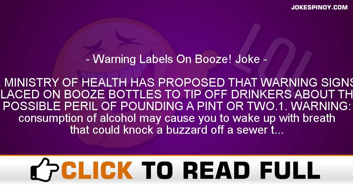 Warning Labels On Booze! Joke