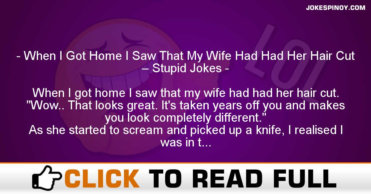 When I Got Home I Saw That My Wife Had Had Her Hair Cut – Stupid Jokes