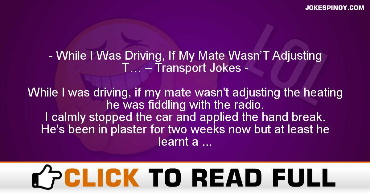 While I Was Driving, If My Mate Wasn'T Adjusting T… – Transport Jokes