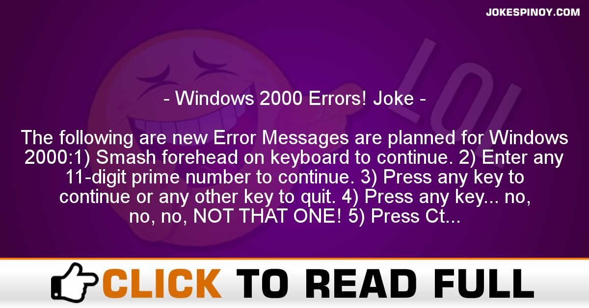 Windows 2000 Errors! Joke