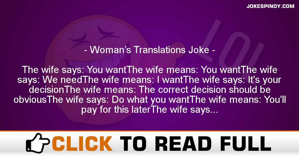 Woman's Translations Joke
