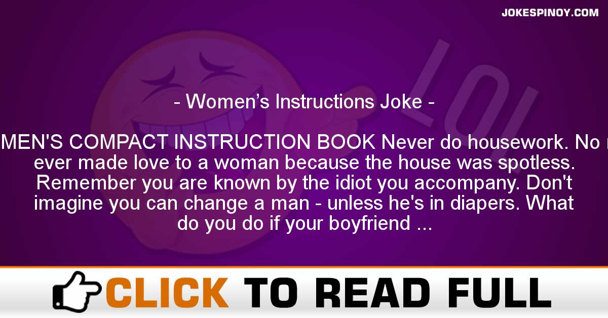 Women's Instructions Joke