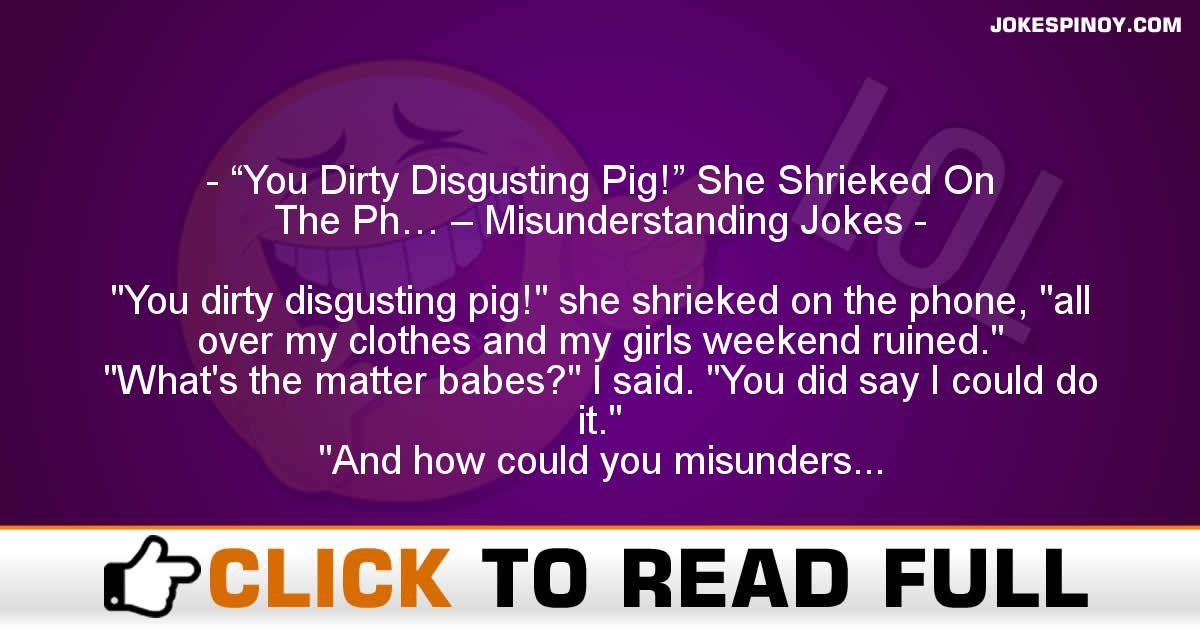 """You Dirty Disgusting Pig!"" She Shrieked On The Ph… – Misunderstanding Jokes"