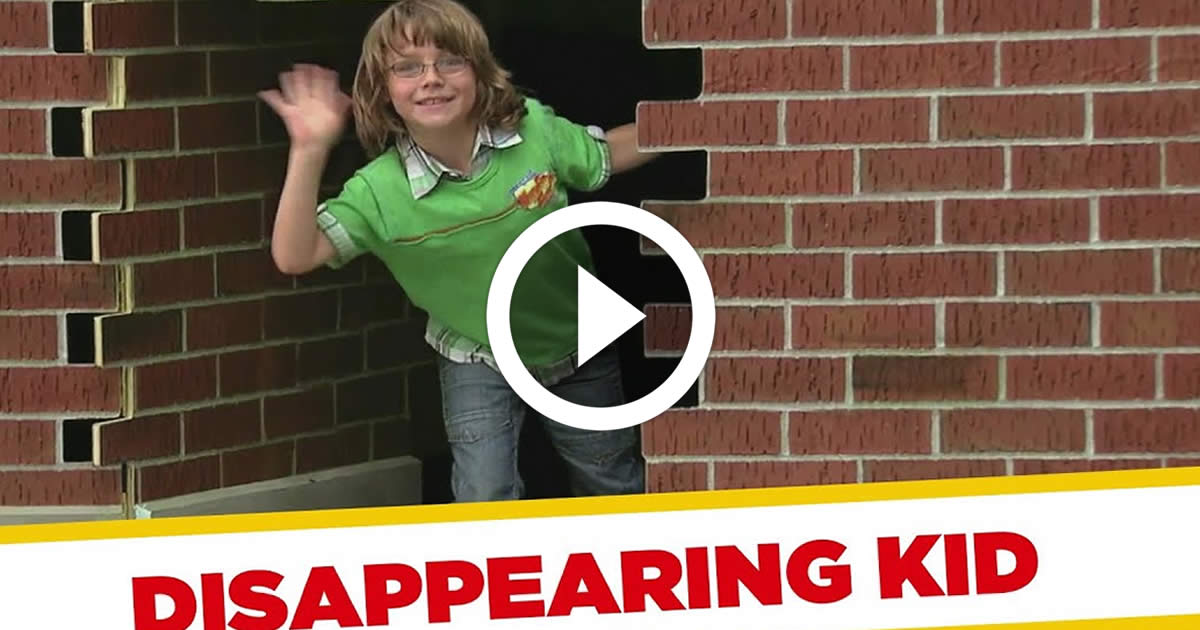 Kid Disappears In Brick Wall Prank Funny Video