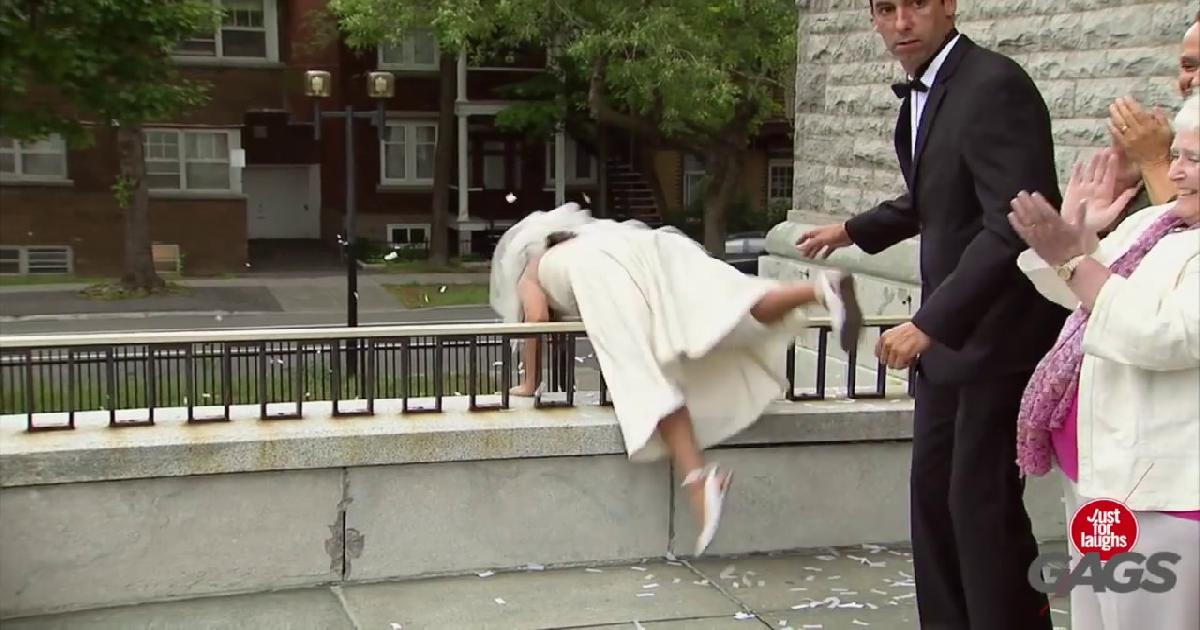 Bride Takes A Mean Fall On Her Wedding Day Funny Video