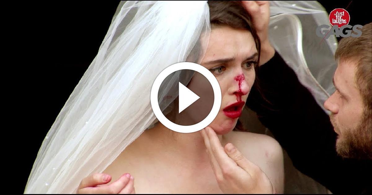 Door Slams Into Bride's Face On Wedding Day Funny Video